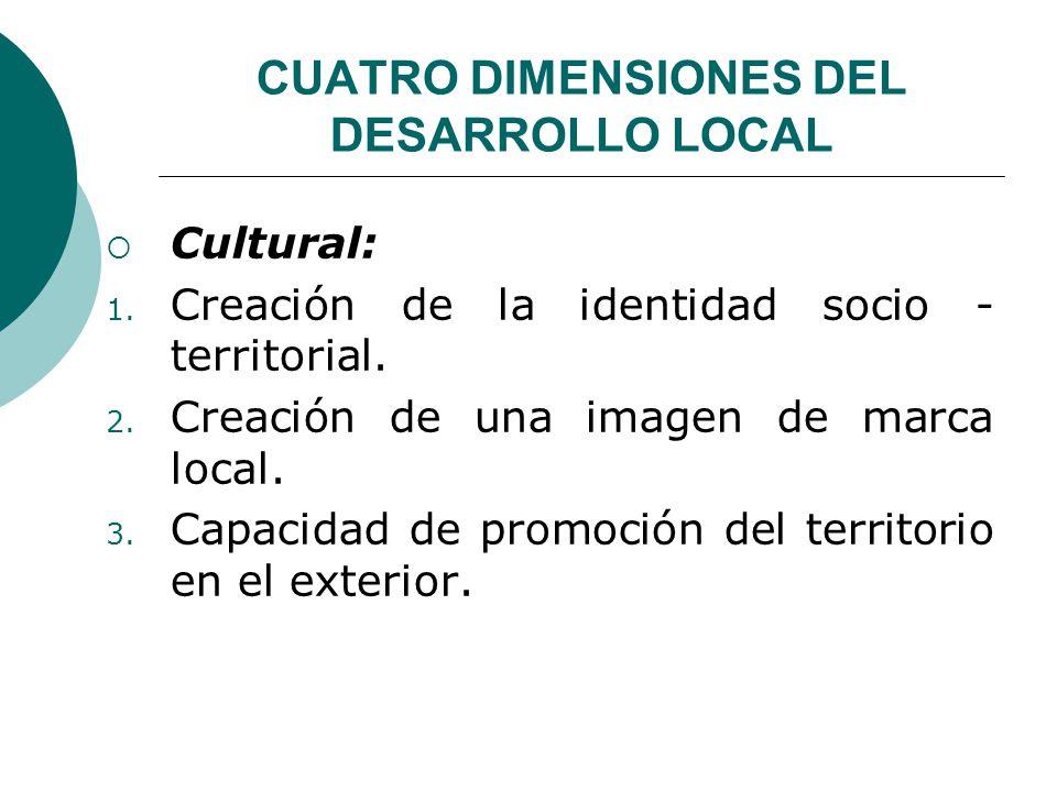 CUATRO DIMENSIONES DEL DESARROLLO LOCAL Cultural: 1. Creación de la identidad socio - territorial. 2. Creación de una imagen de marca local. 3. Capaci
