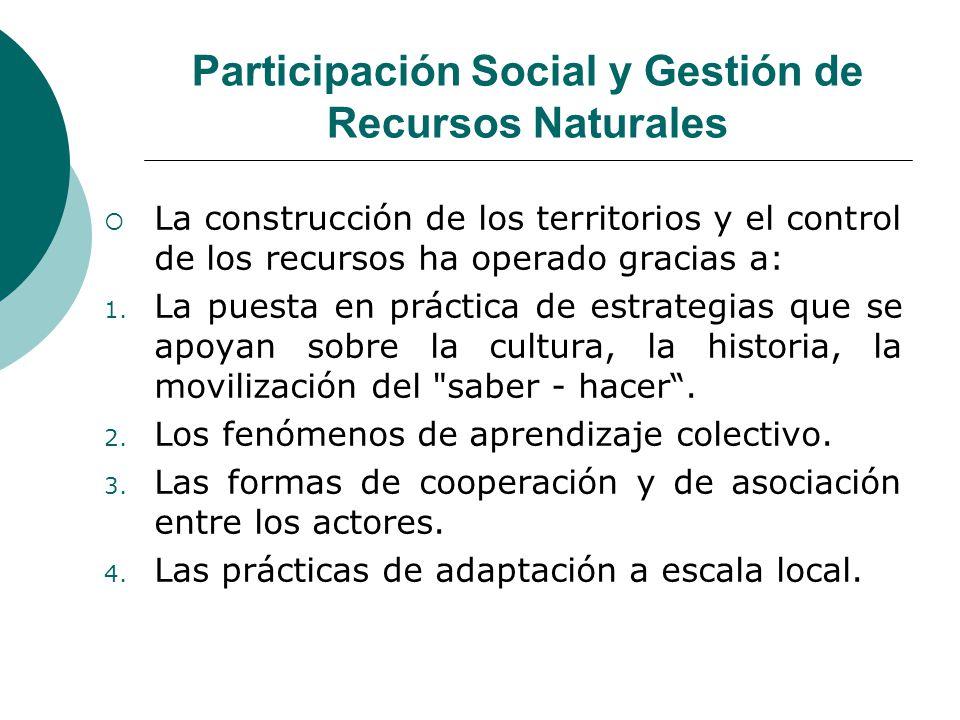 Participación Social y Gestión de Recursos Naturales La construcción de los territorios y el control de los recursos ha operado gracias a: 1. La puest