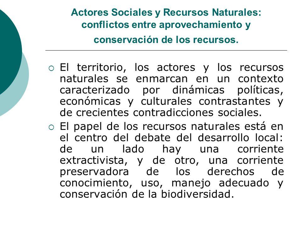 Actores Sociales y Recursos Naturales: conflictos entre aprovechamiento y conservación de los recursos. El territorio, los actores y los recursos natu