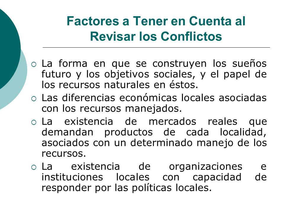 Factores a Tener en Cuenta al Revisar los Conflictos La forma en que se construyen los sueños futuro y los objetivos sociales, y el papel de los recur