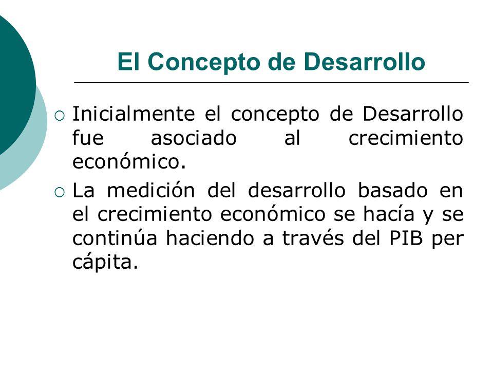 El Concepto de Desarrollo Inicialmente el concepto de Desarrollo fue asociado al crecimiento económico. La medición del desarrollo basado en el crecim