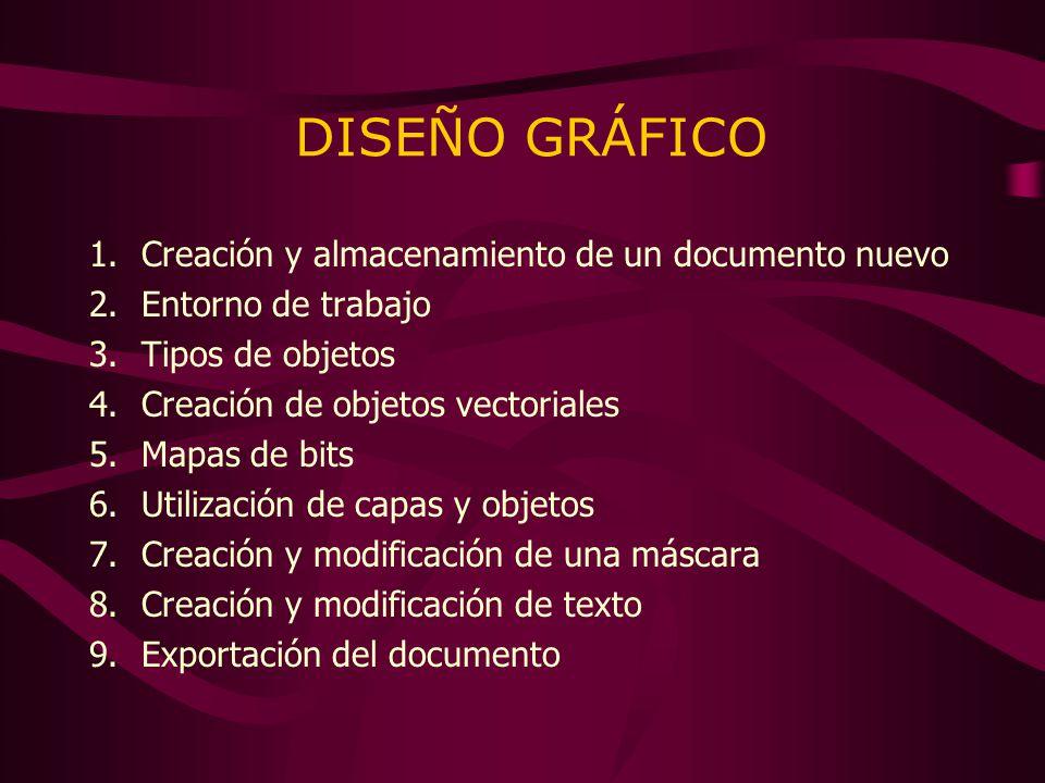 DISEÑO GRÁFICO 1.Creación y almacenamiento de un documento nuevo 2.Entorno de trabajo 3.Tipos de objetos 4.Creación de objetos vectoriales 5.Mapas de