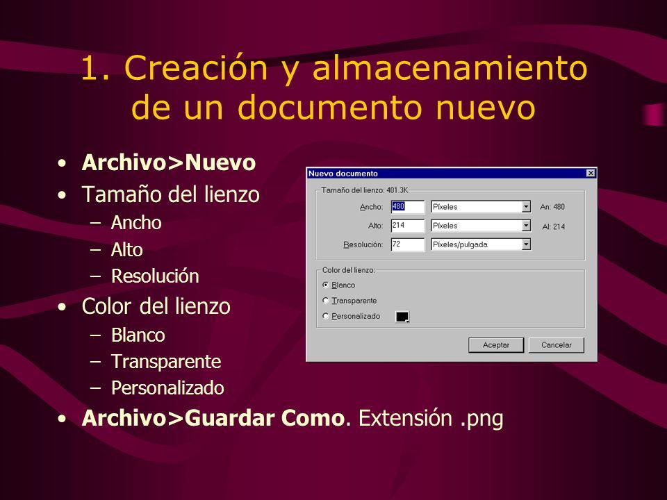 1. Creación y almacenamiento de un documento nuevo Archivo>Nuevo Tamaño del lienzo –Ancho –Alto –Resolución Color del lienzo –Blanco –Transparente –Pe