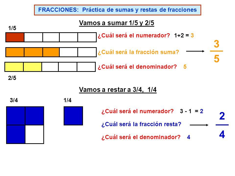 FRACCIONES: Práctica de suma de fracciones FRACCIONES: Práctica de resta de fracciones 2525 3535 3636 2626 5656 8 12 3 12 5 12 7979 3939 4949 1515