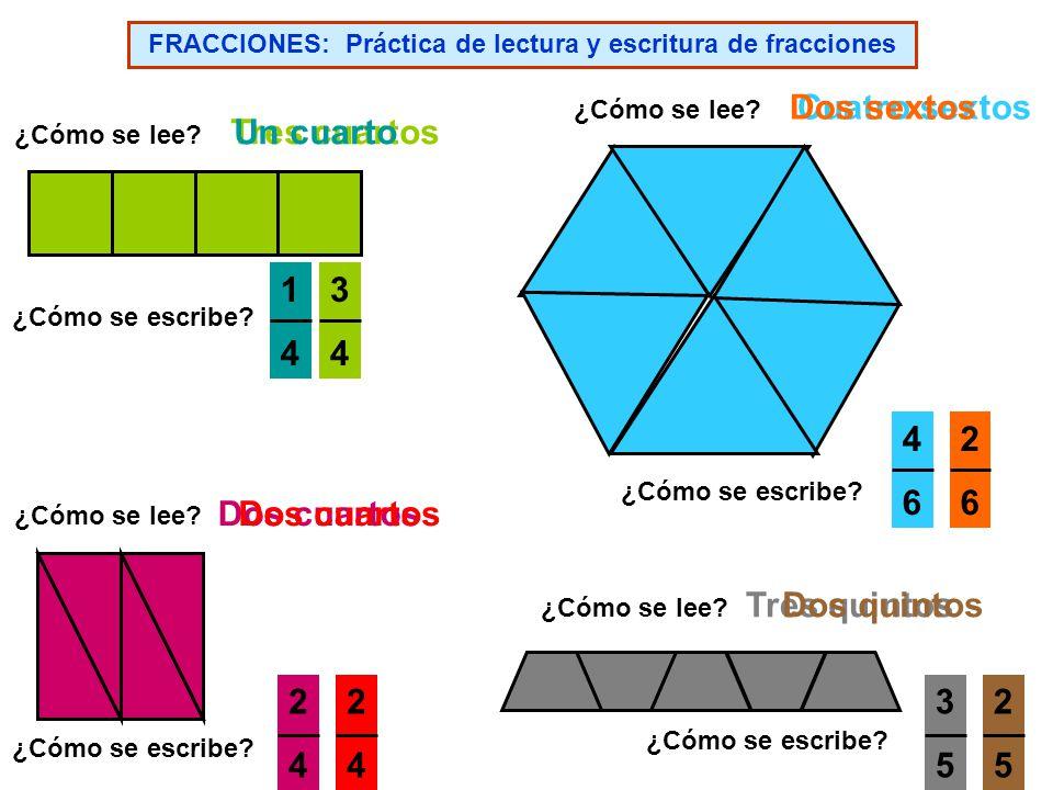 FRACCIONES: Práctica de lectura y escritura de fracciones ¿Cómo se lee.