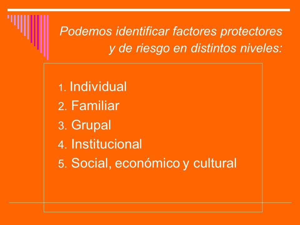 Podemos identificar factores protectores y de riesgo en distintos niveles: 1. Individual 2. Familiar 3. Grupal 4. Institucional 5. Social, económico y