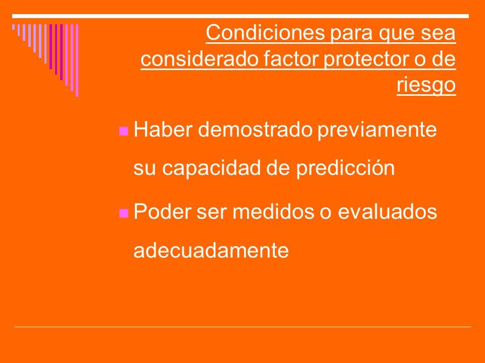 Condiciones para que sea considerado factor protector o de riesgo Haber demostrado previamente su capacidad de predicción Poder ser medidos o evaluado