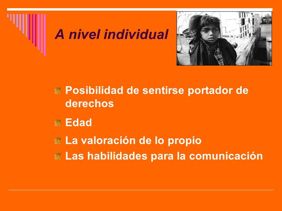 A nivel individual Posibilidad de sentirse portador de derechos Edad La valoración de lo propio Las habilidades para la comunicación