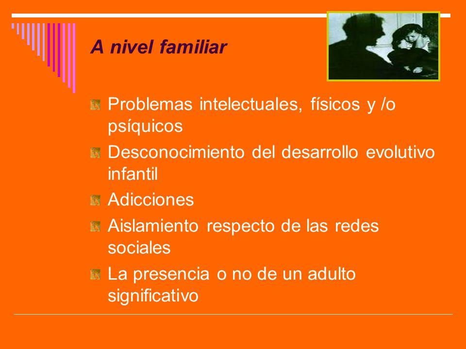 A nivel familiar Problemas intelectuales, físicos y /o psíquicos Desconocimiento del desarrollo evolutivo infantil Adicciones Aislamiento respecto de