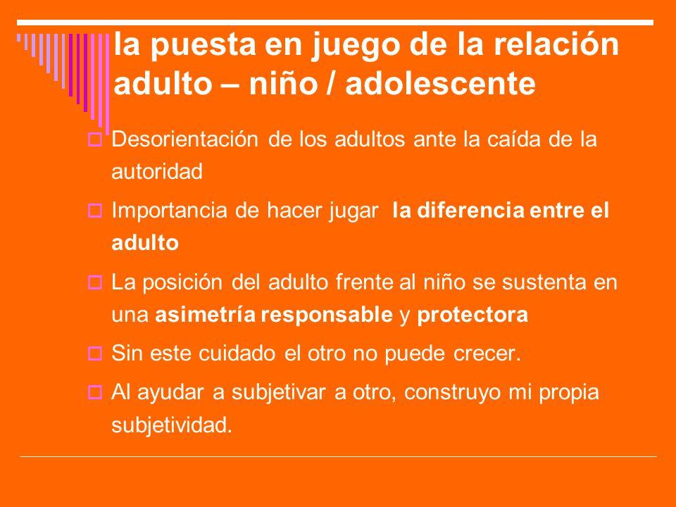 la puesta en juego de la relación adulto – niño / adolescente Desorientación de los adultos ante la caída de la autoridad Importancia de hacer jugar l