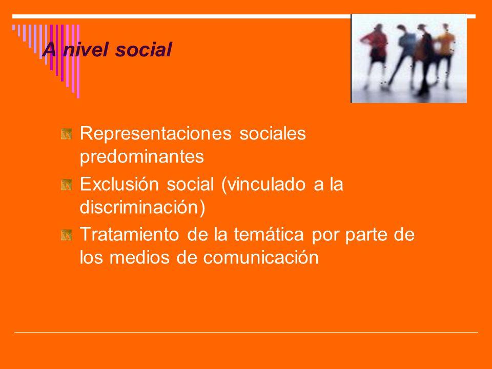 A nivel social Representaciones sociales predominantes Exclusión social (vinculado a la discriminación) Tratamiento de la temática por parte de los me