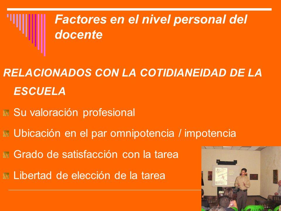 Factores en el nivel personal del docente RELACIONADOS CON LA COTIDIANEIDAD DE LA ESCUELA Su valoración profesional Ubicación en el par omnipotencia /