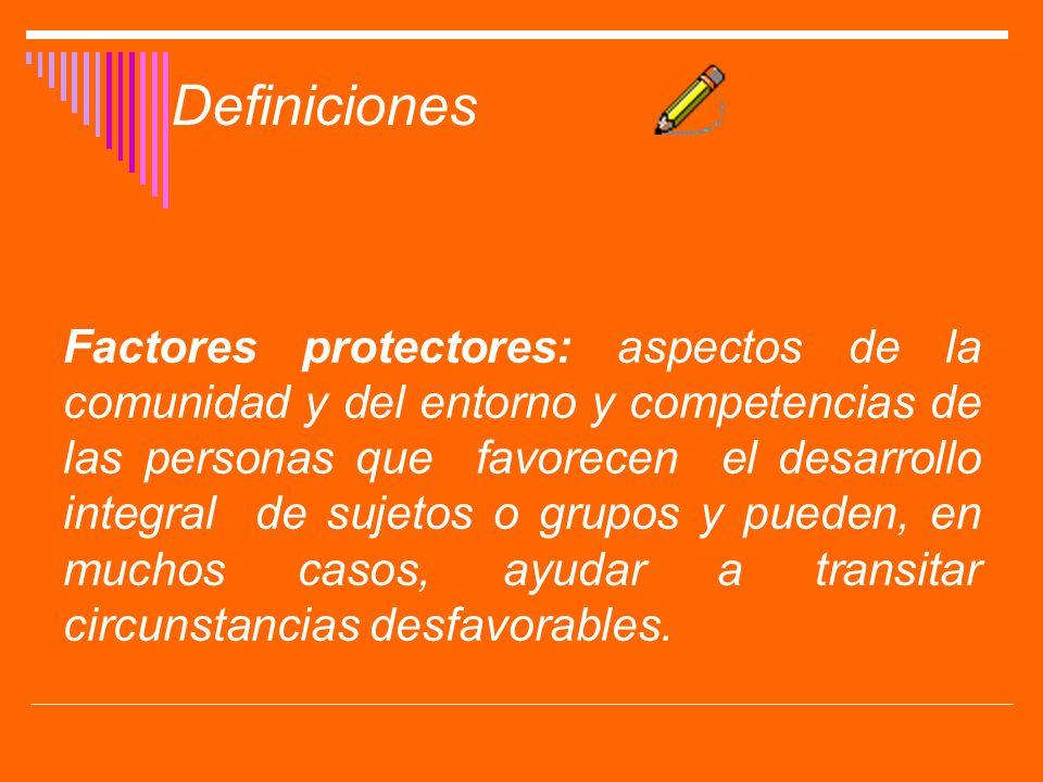 Factores protectores: aspectos de la comunidad y del entorno y competencias de las personas que favorecen el desarrollo integral de sujetos o grupos y