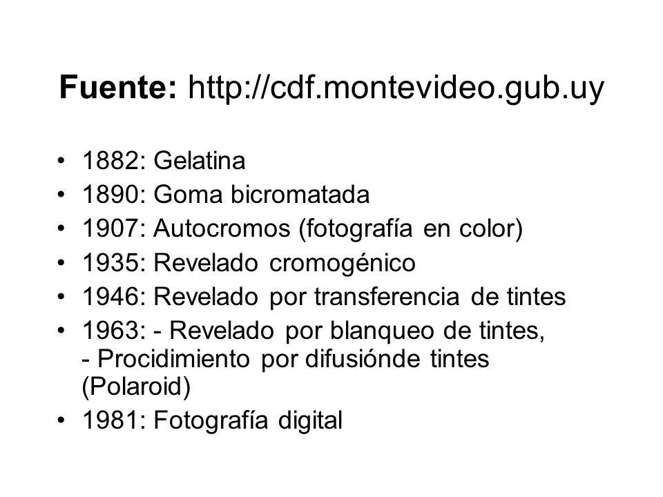 Fuente: http://cdf.montevideo.gub.uy 1882: Gelatina 1890: Goma bicromatada 1907: Autocromos (fotografía en color) 1935: Revelado cromogénico 1946: Rev