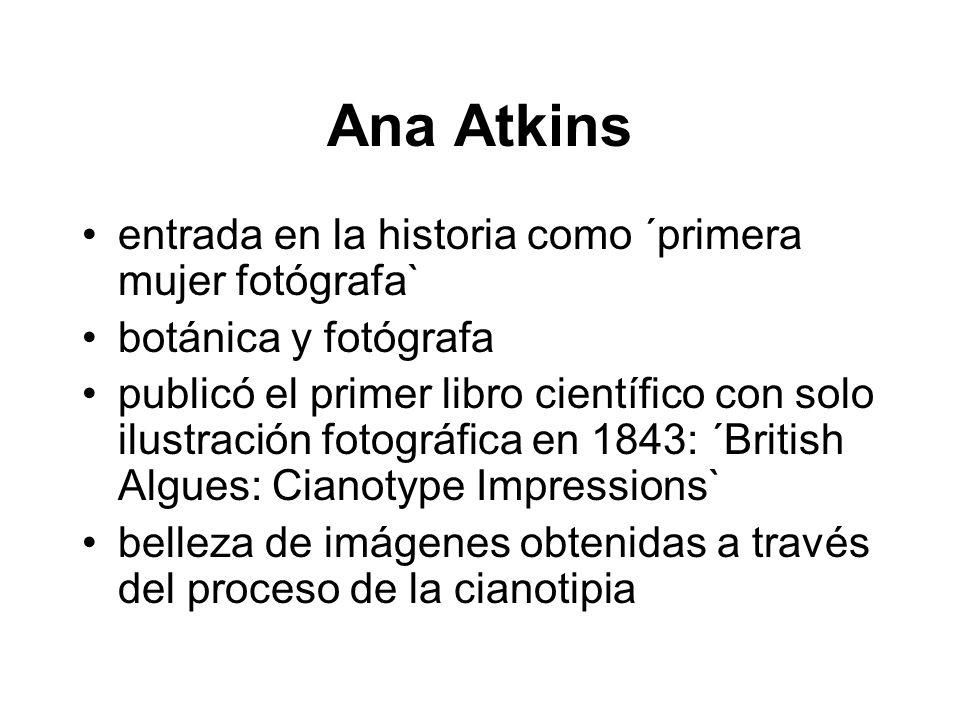 Ana Atkins entrada en la historia como ´primera mujer fotógrafa` botánica y fotógrafa publicó el primer libro científico con solo ilustración fotográfica en 1843: ´British Algues: Cianotype Impressions` belleza de imágenes obtenidas a través del proceso de la cianotipia