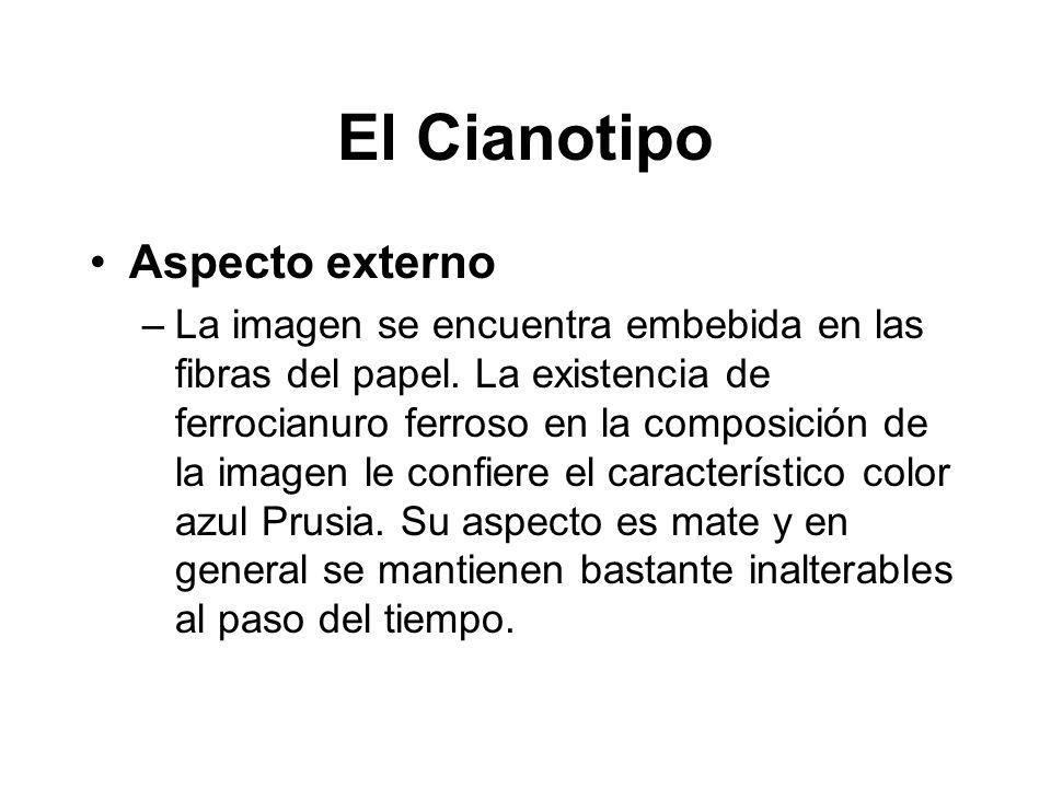 El Cianotipo Aspecto externo –La imagen se encuentra embebida en las fibras del papel. La existencia de ferrocianuro ferroso en la composición de la i