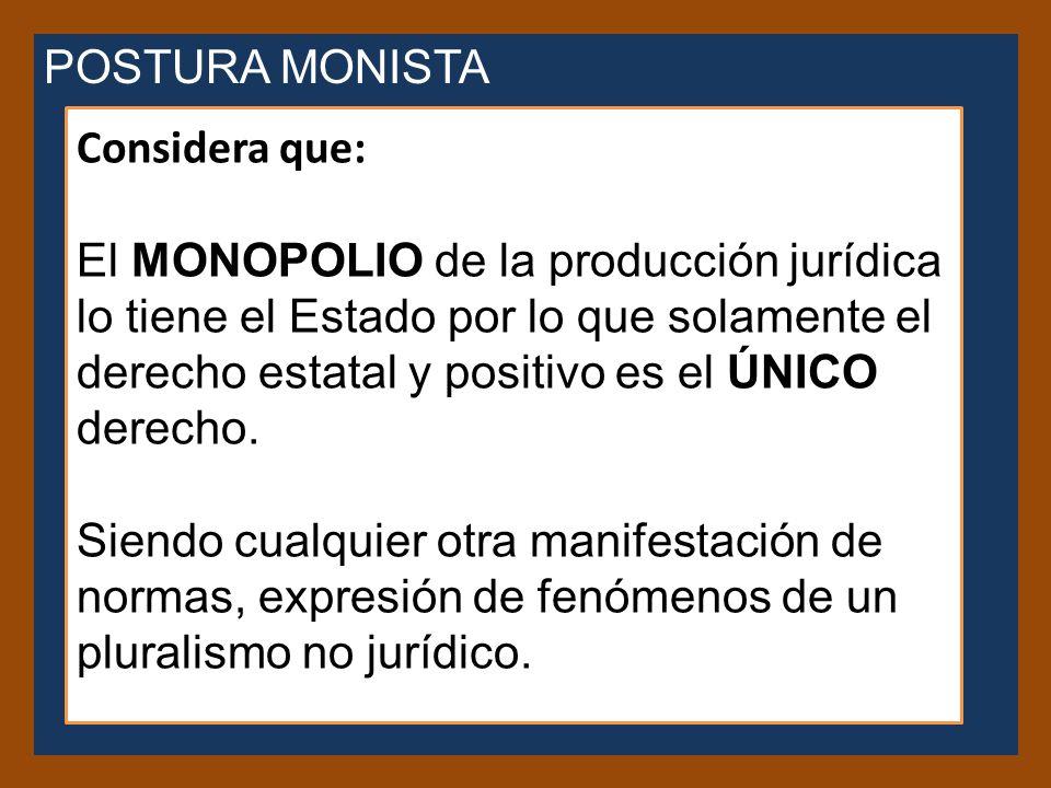 POSTURA MONISTA Considera que: El MONOPOLIO de la producción jurídica lo tiene el Estado por lo que solamente el derecho estatal y positivo es el ÚNICO derecho.