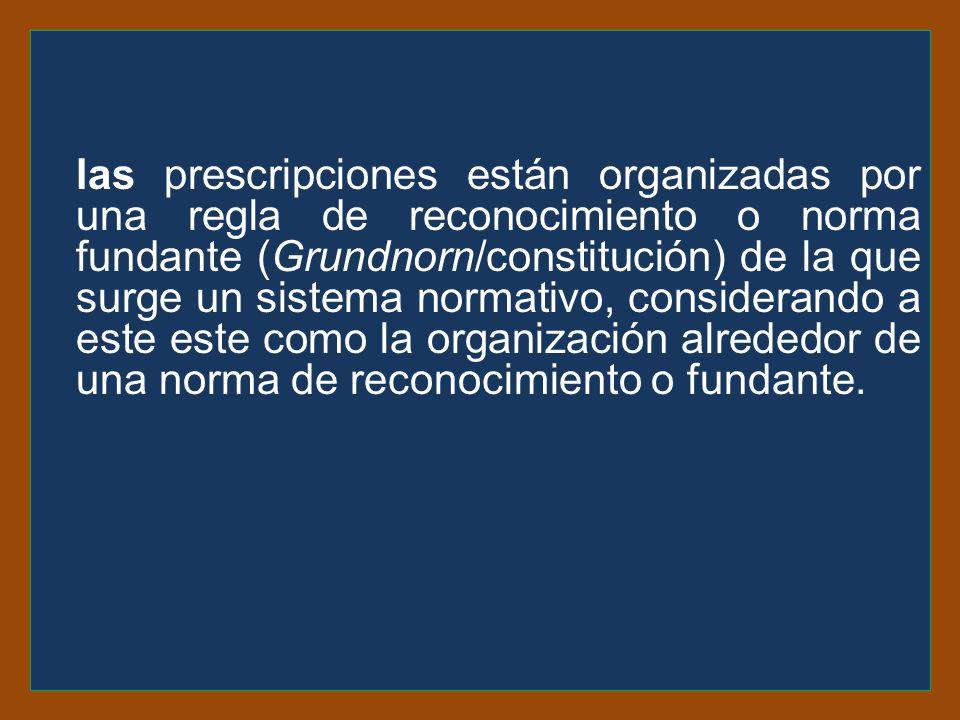 las prescripciones están organizadas por una regla de reconocimiento o norma fundante (Grundnorn/constitución) de la que surge un sistema normativo, considerando a este este como la organización alrededor de una norma de reconocimiento o fundante.