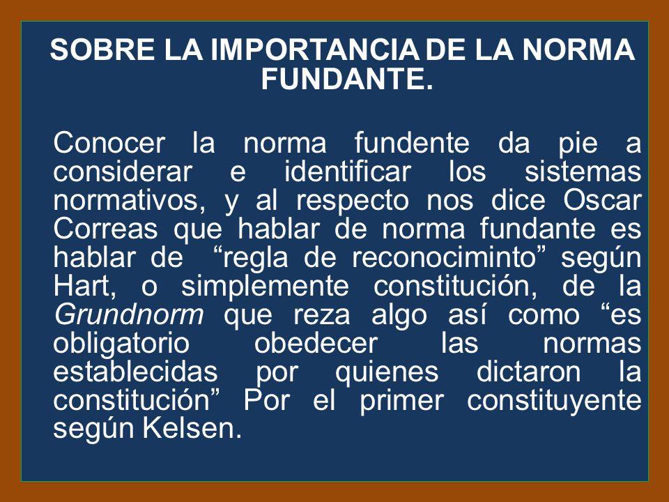SOBRE LA IMPORTANCIA DE LA NORMA FUNDANTE.
