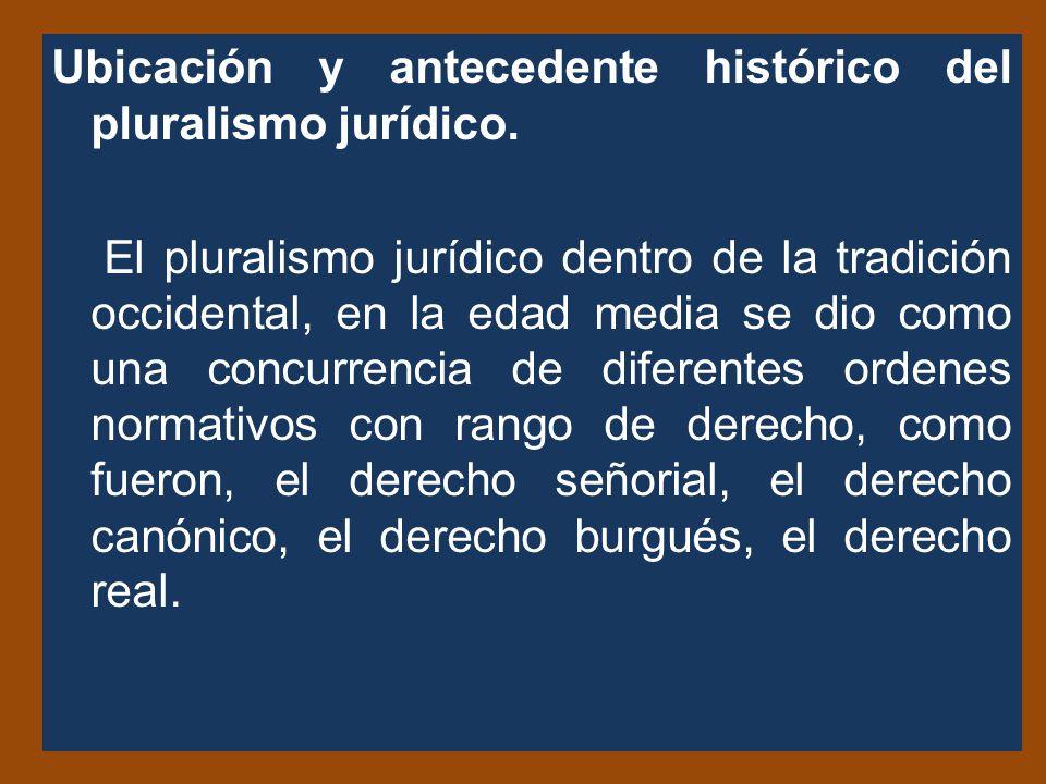 Ubicación y antecedente histórico del pluralismo jurídico.