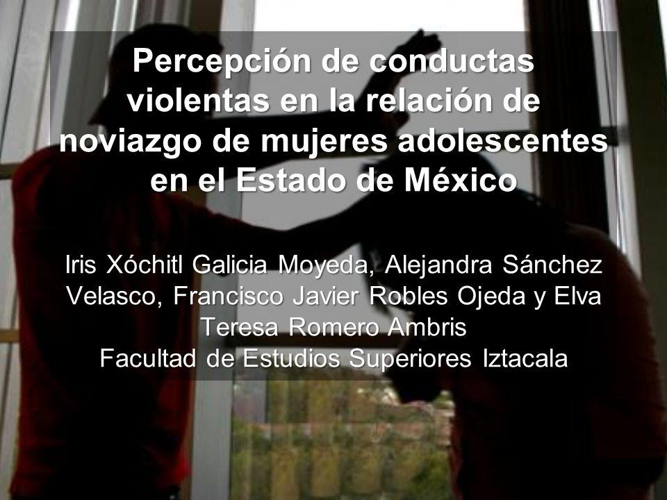 Objetivo Identificar el nivel de percepción acerca de conductas relacionadas a la violencia psicológica que tienen un grupo de adolescentes que cursan el tercer grado de educación secundaria en el Estado de MéxicoIdentificar el nivel de percepción acerca de conductas relacionadas a la violencia psicológica que tienen un grupo de adolescentes que cursan el tercer grado de educación secundaria en el Estado de México