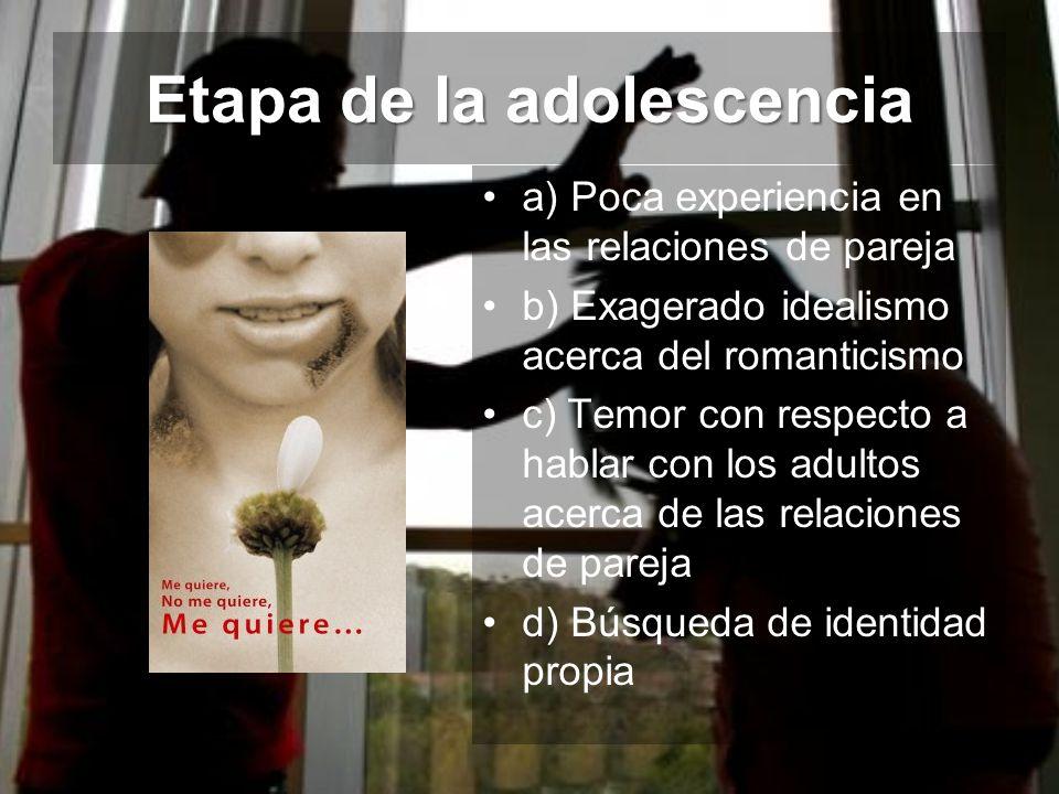 Etapa de la adolescencia a) Poca experiencia en las relaciones de pareja b) Exagerado idealismo acerca del romanticismo c) Temor con respecto a hablar
