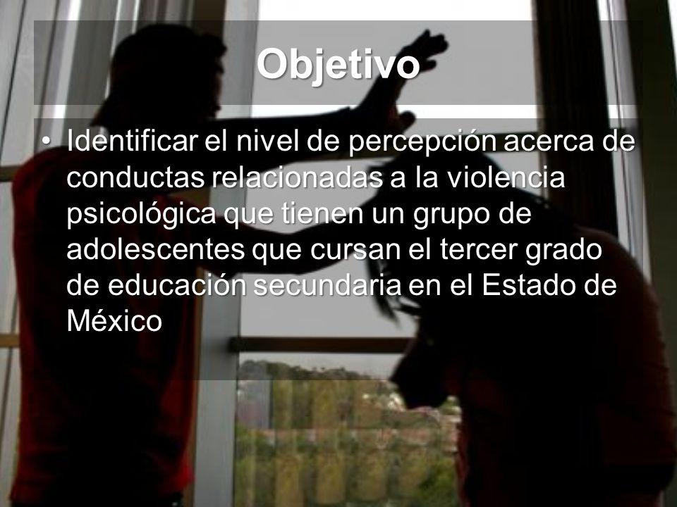 Objetivo Identificar el nivel de percepción acerca de conductas relacionadas a la violencia psicológica que tienen un grupo de adolescentes que cursan