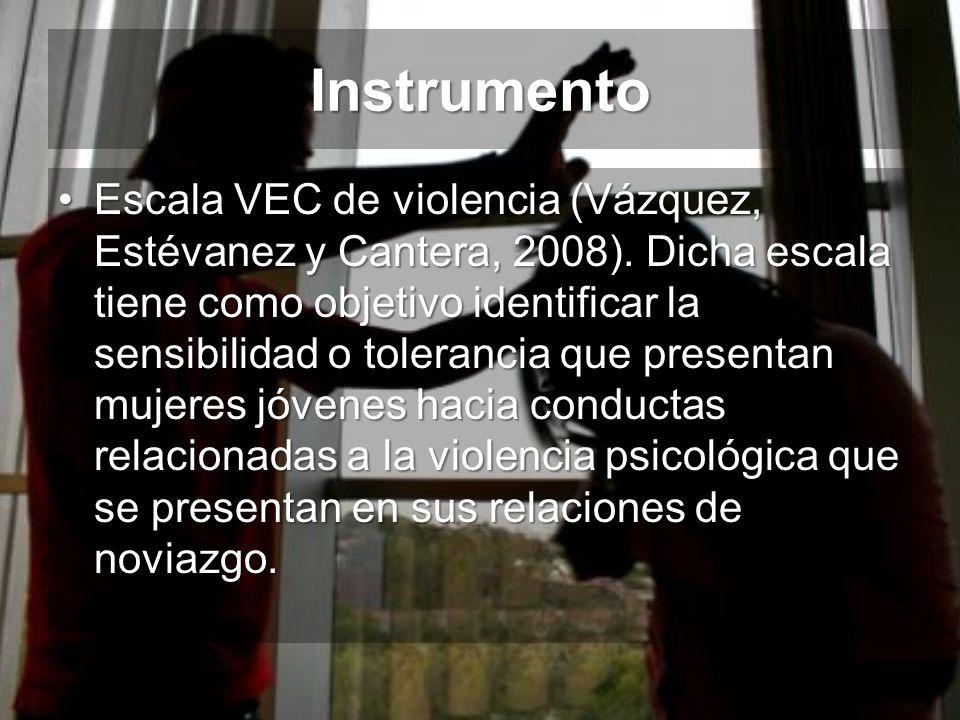Instrumento Escala VEC de violencia (Vázquez, Estévanez y Cantera, 2008). Dicha escala tiene como objetivo identificar la sensibilidad o tolerancia qu