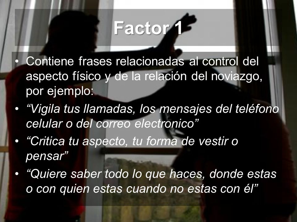 Factor 1 Contiene frases relacionadas al control del aspecto físico y de la relación del noviazgo, por ejemplo: Vigila tus llamadas, los mensajes del