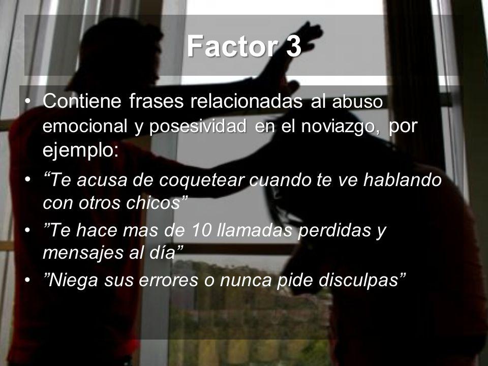 Factor 3 abuso emocional y posesividad en el noviazgo,Contiene frases relacionadas al abuso emocional y posesividad en el noviazgo, por ejemplo: Te ac