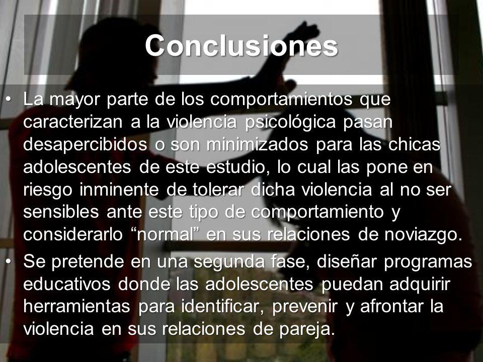 Conclusiones La mayor parte de los comportamientos que caracterizan a la violencia psicológica pasan desapercibidos o son minimizados para las chicas