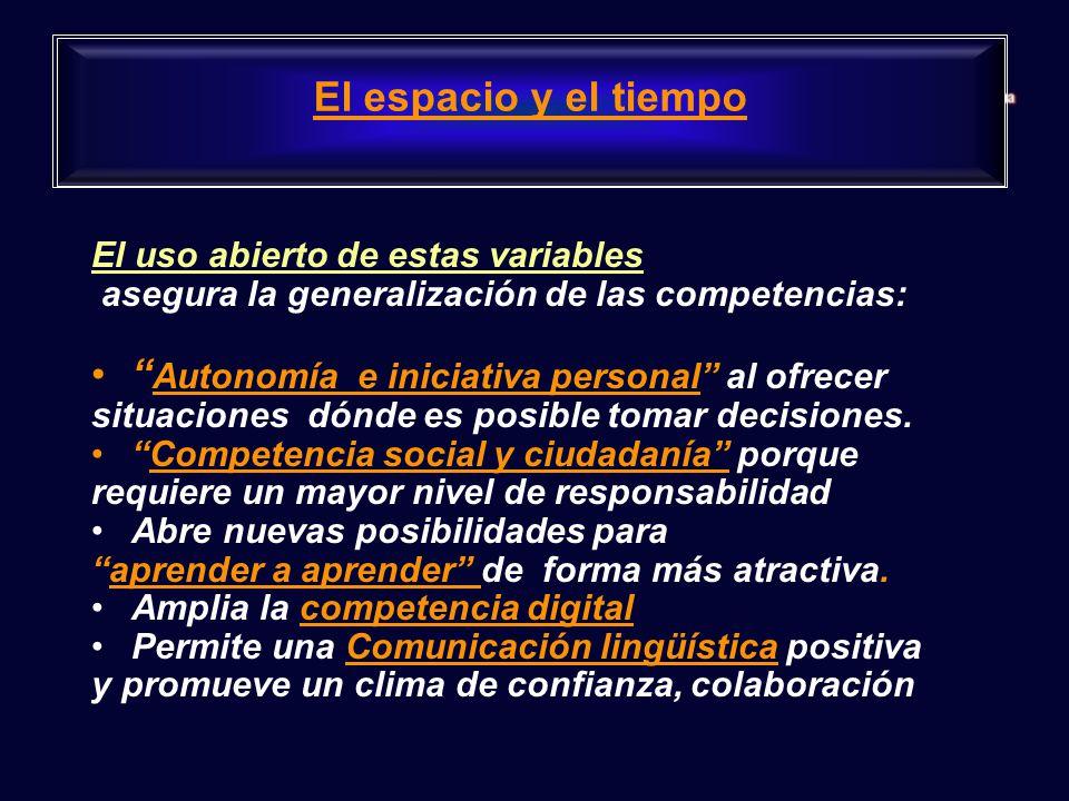 El uso abierto de estas variables asegura la generalización de las competencias: Autonomía e iniciativa personal al ofrecer situaciones dónde es posible tomar decisiones.