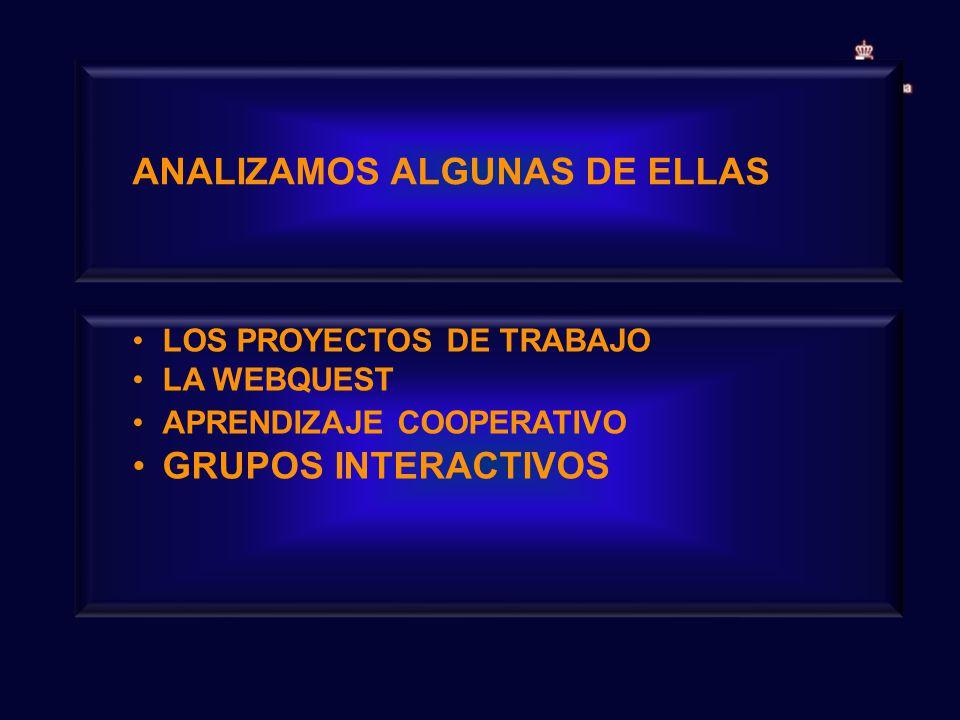 ANALIZAMOS ALGUNAS DE ELLAS LOS PROYECTOS DE TRABAJO LA WEBQUEST APRENDIZAJE COOPERATIVO GRUPOS INTERACTIVOS