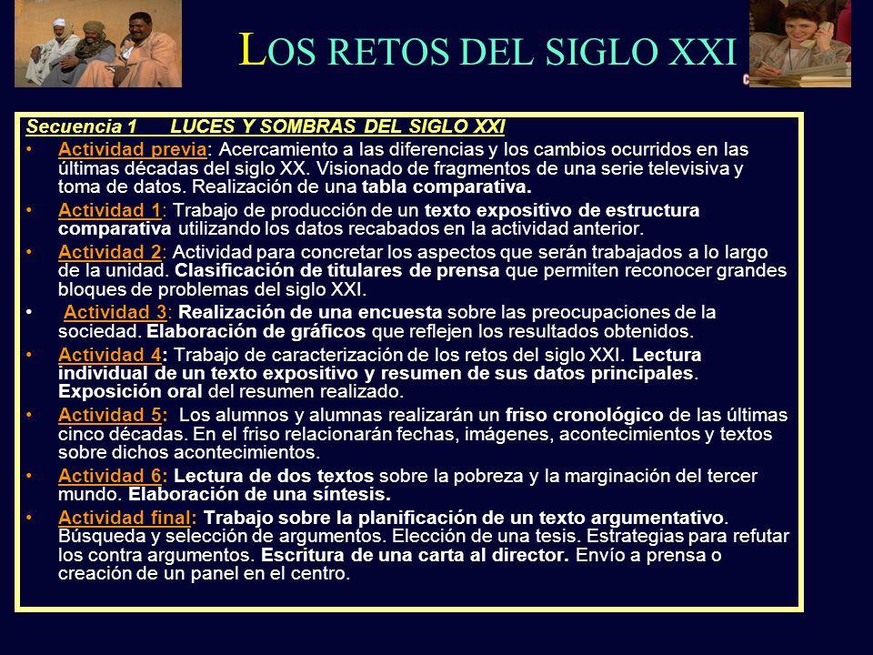 Secuencia 1 LUCES Y SOMBRAS DEL SIGLO XXI Actividad previa: Acercamiento a las diferencias y los cambios ocurridos en las últimas décadas del siglo XX.