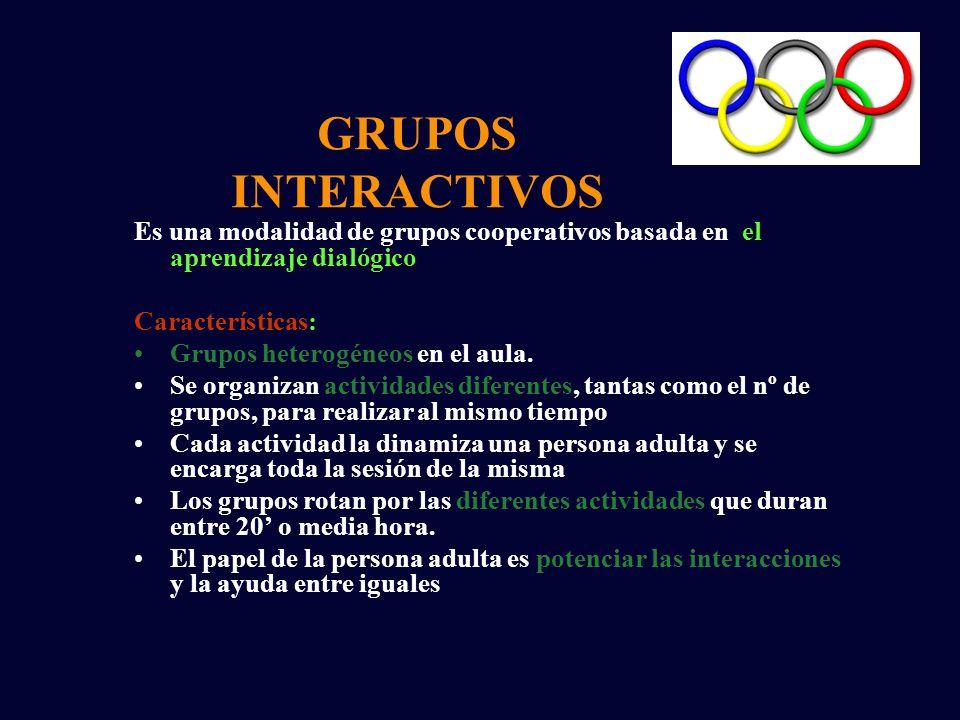 GRUPOS INTERACTIVOS Es una modalidad de grupos cooperativos basada en el aprendizaje dialógico Características: Grupos heterogéneos en el aula.