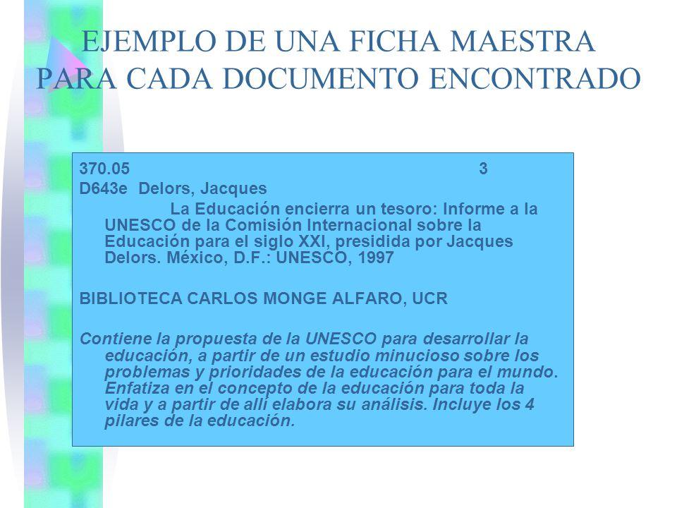 EJEMPLO DE UNA FICHA MAESTRA PARA CADA DOCUMENTO ENCONTRADO 370.05 3 D643e Delors, Jacques La Educación encierra un tesoro: Informe a la UNESCO de la