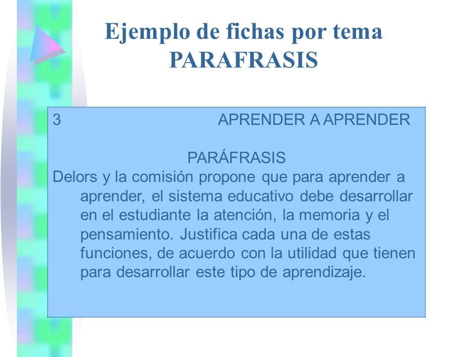 Ejemplo de fichas por tema PARAFRASIS 3 APRENDER A APRENDER PARÁFRASIS Delors y la comisión propone que para aprender a aprender, el sistema educativo