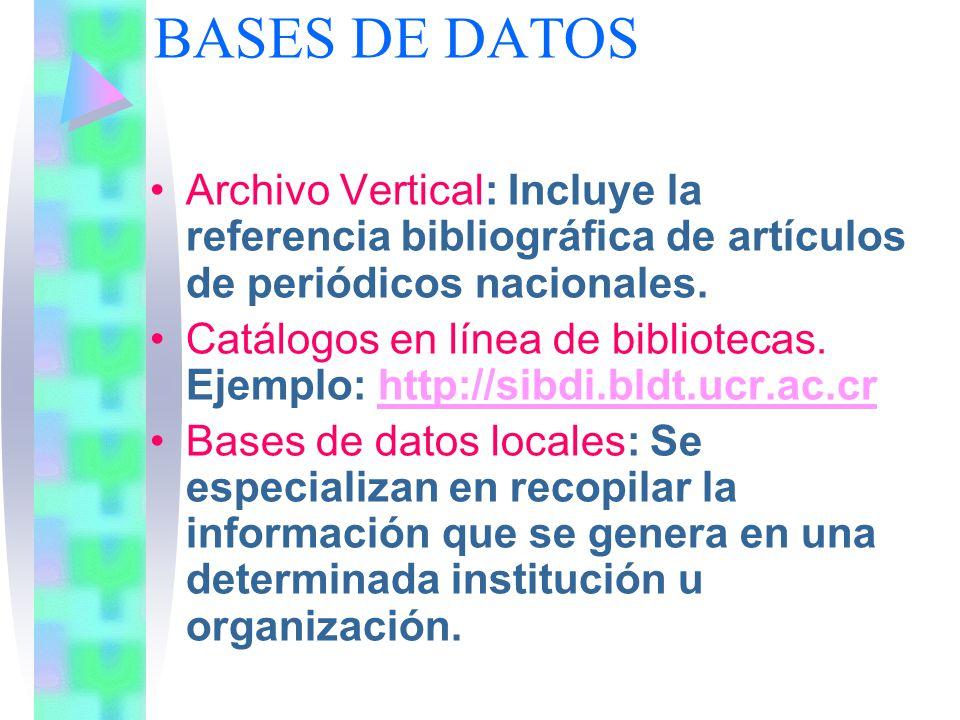 BASES DE DATOS Archivo Vertical: Incluye la referencia bibliográfica de artículos de periódicos nacionales. Catálogos en línea de bibliotecas. Ejemplo