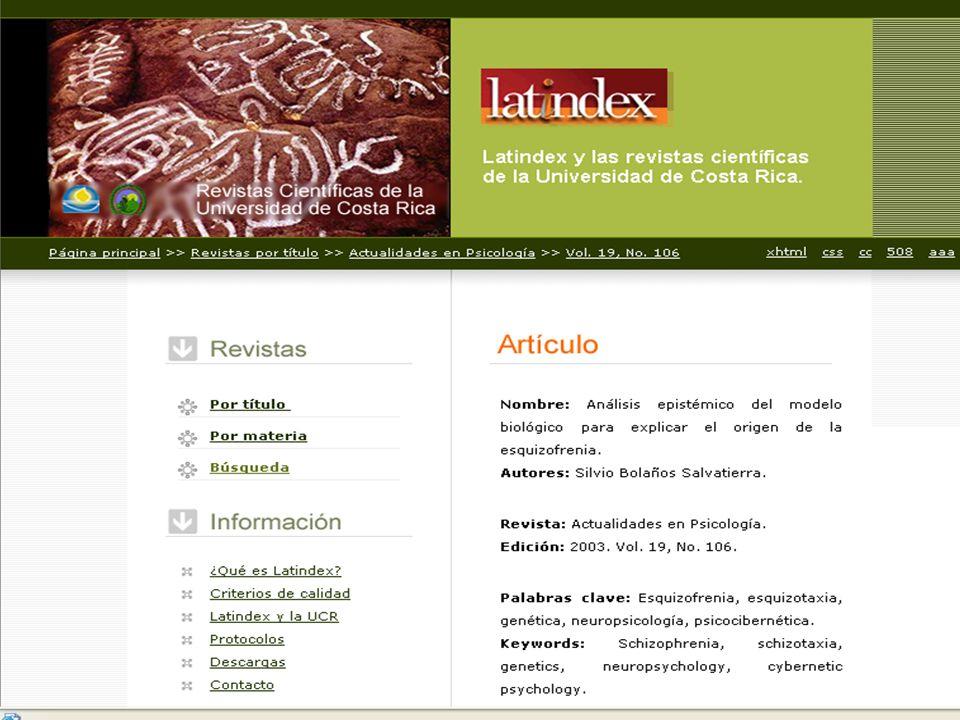 LATINDEX Directorio: Incluye más de 15.000 registros de revistas científicas, solo los datos básicos para localizarlas en bibliotecas o directamente con el editor.
