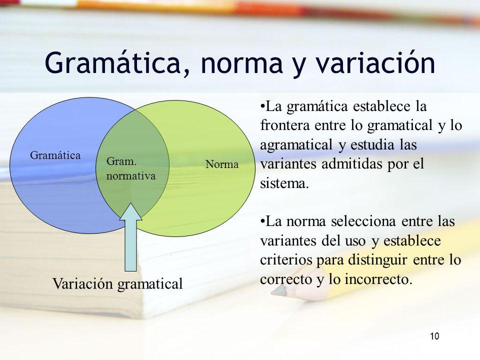 10 Gramática, norma y variación Gramática Norma Gram. normativa La gramática establece la frontera entre lo gramatical y lo agramatical y estudia las
