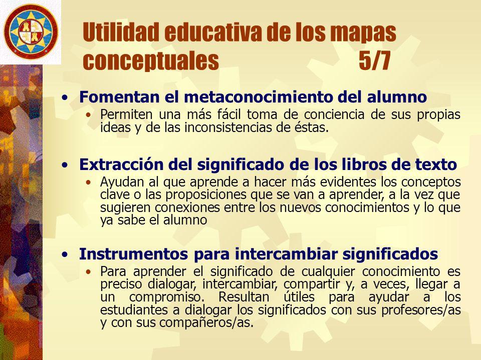 Utilidad educativa de los mapas conceptuales 5/7 Fomentan el metaconocimiento del alumno Permiten una más fácil toma de conciencia de sus propias idea