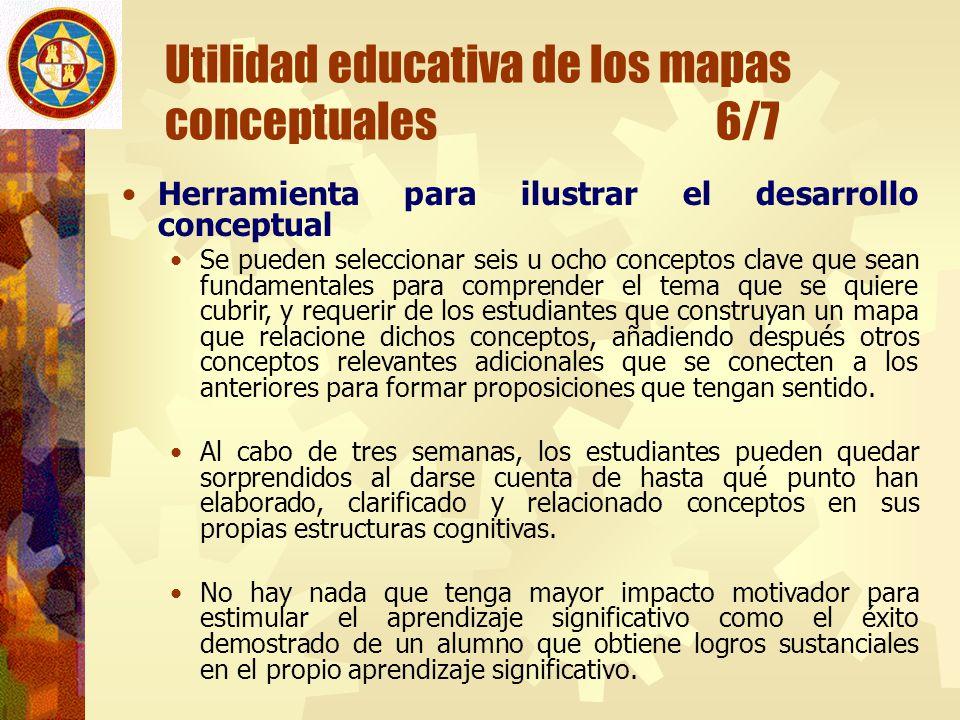 Utilidad educativa de los mapas conceptuales 6/7 Herramienta para ilustrar el desarrollo conceptual Se pueden seleccionar seis u ocho conceptos clave
