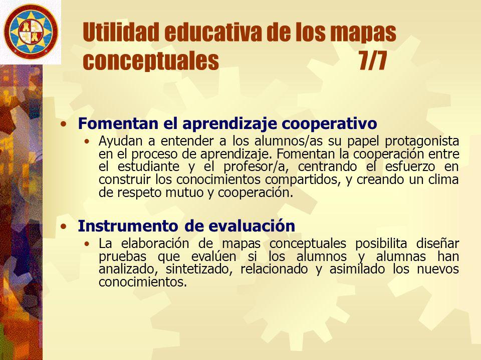 Utilidad educativa de los mapas conceptuales 7/7 Fomentan el aprendizaje cooperativo Ayudan a entender a los alumnos/as su papel protagonista en el pr