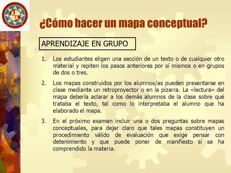 ¿Cómo hacer un mapa conceptual? APRENDIZAJE EN GRUPO 1.Los estudiantes eligen una sección de un texto o de cualquier otro material y repiten los pasos