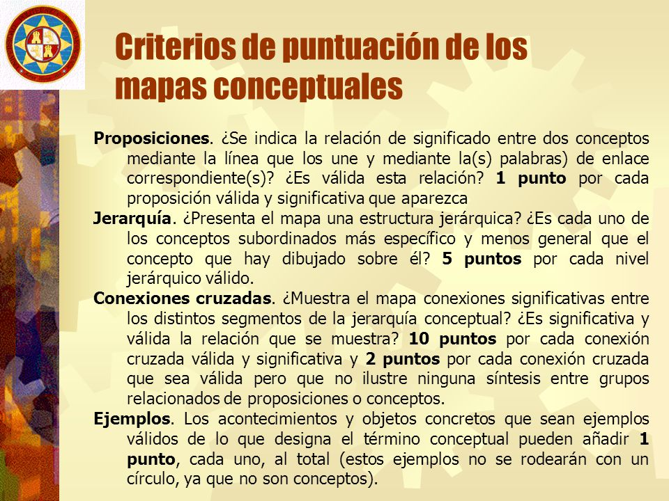 Criterios de puntuación de los mapas conceptuales Proposiciones. ¿Se indica la relación de significado entre dos conceptos mediante la línea que los u
