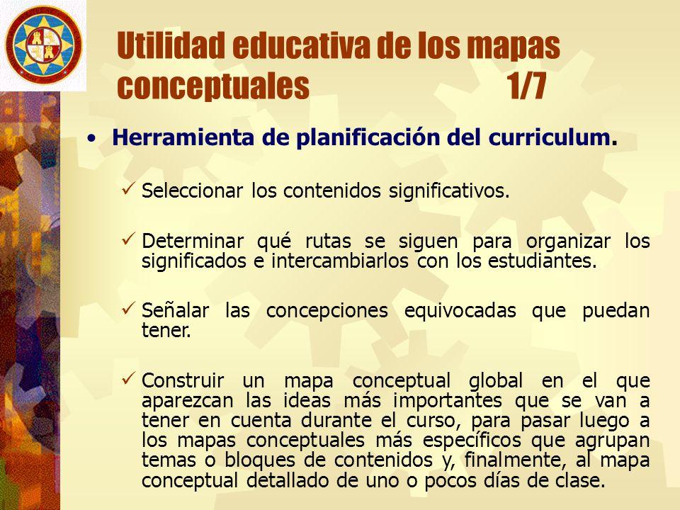 Utilidad educativa de los mapas conceptuales 1/7 Herramienta de planificación del curriculum. Seleccionar los contenidos significativos. Determinar qu