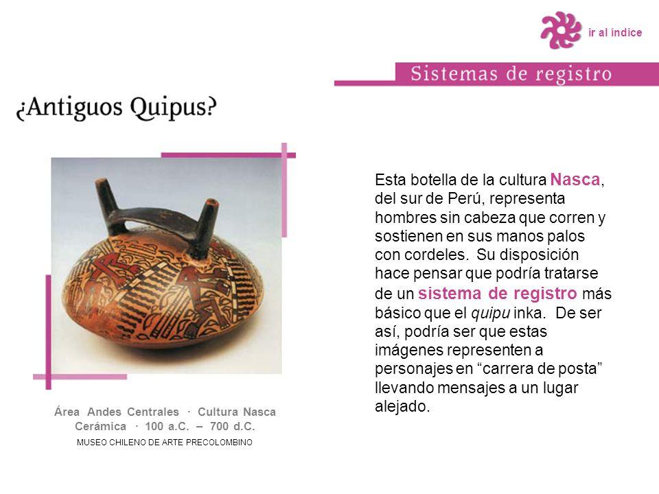Esta botella de la cultura Nasca, del sur de Perú, representa hombres sin cabeza que corren y sostienen en sus manos palos con cordeles. Su disposició