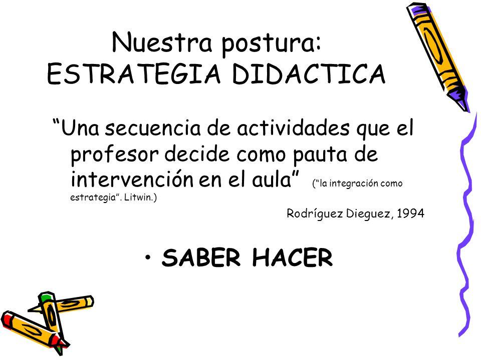 Nuestra postura: ESTRATEGIA DIDACTICA Una secuencia de actividades que el profesor decide como pauta de intervención en el aula ( la integración como
