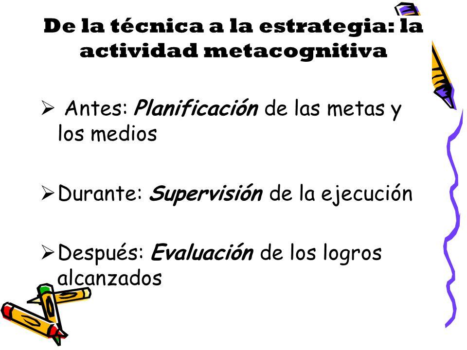 De la técnica a la estrategia: la actividad metacognitiva Antes: Planificación de las metas y los medios Durante: Supervisión de la ejecución Después: