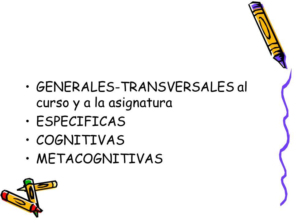 GENERALES-TRANSVERSALES al curso y a la asignatura ESPECIFICAS COGNITIVAS METACOGNITIVAS